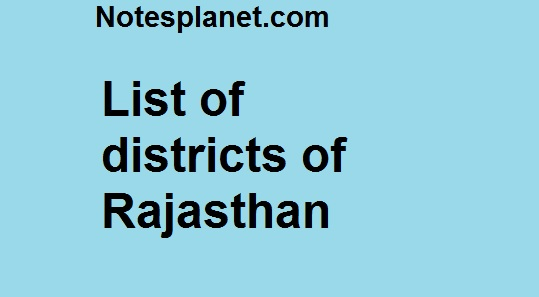 List of districts of Rajasthan